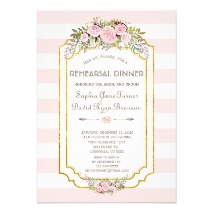 Charm blush pink stripes floral g rehearsal dinner card stopboris Image collections