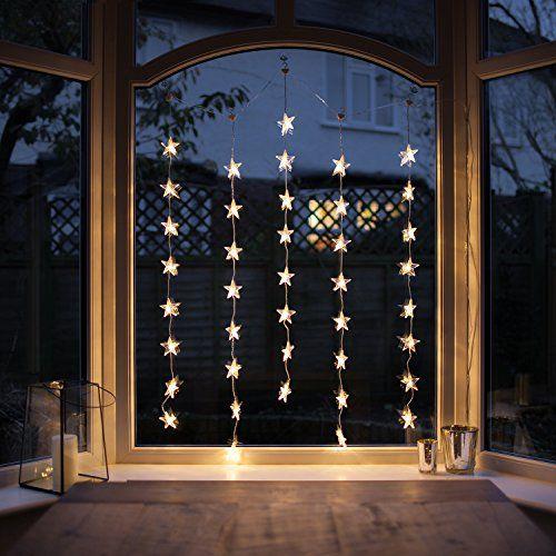 Rideau Lumineux Intérieur de 40 Etoiles LED Blanc Chaud p s