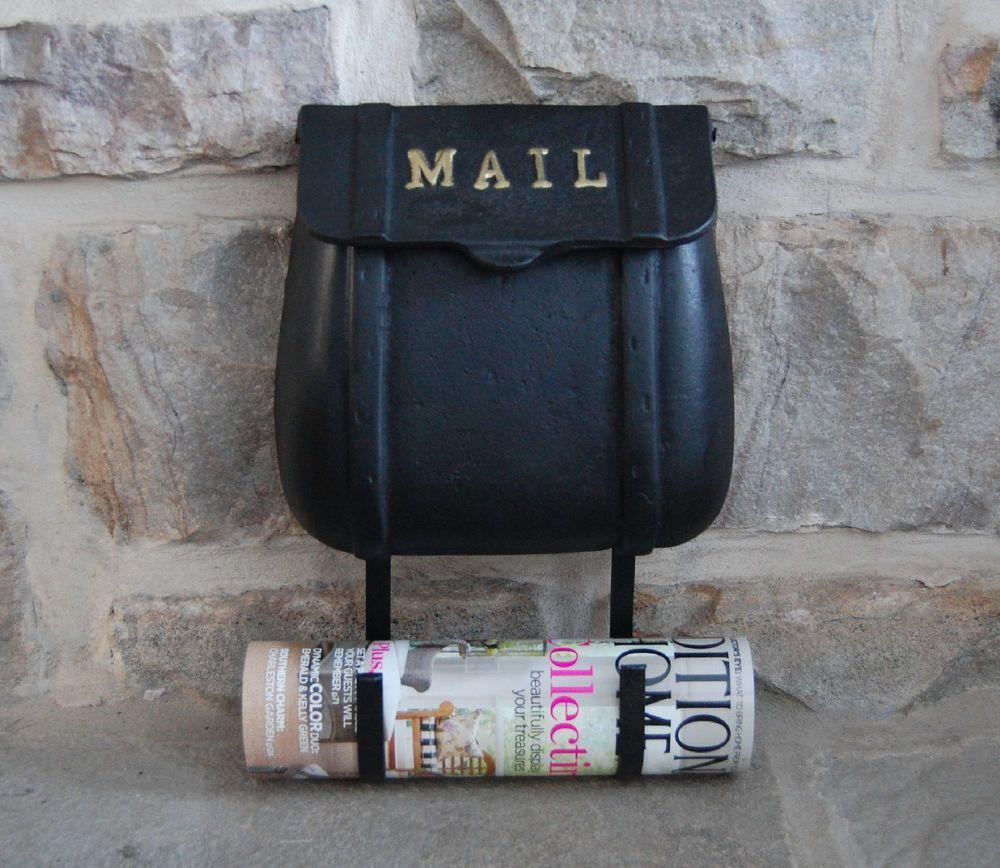 Saddlebag Mailbox Cast Iron Mail Box Wall Mount New With Magazine Holder Classic Magazine Holders Post Box Wall Mounted Wall Mount