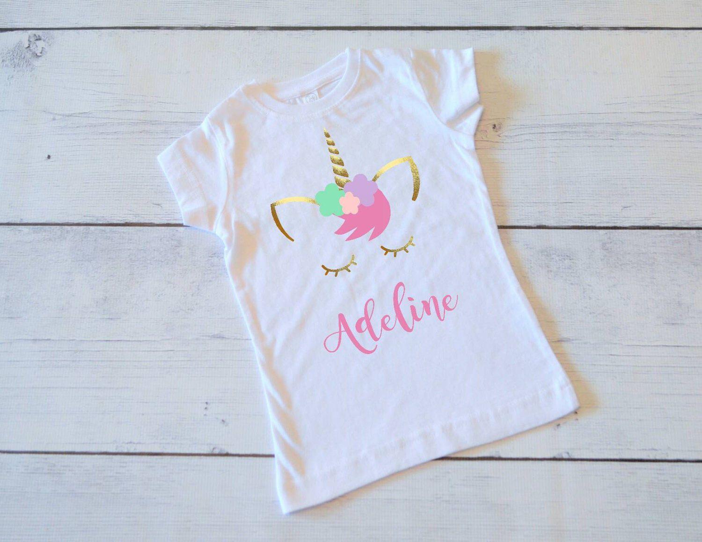 Unicorn ShirtPersonalized Shirt Pink And Gold Glitter Tee