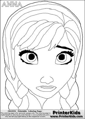 DISNEY FROZEN ANNA FACE Coloring Page 2 Preview 4 Pinterest