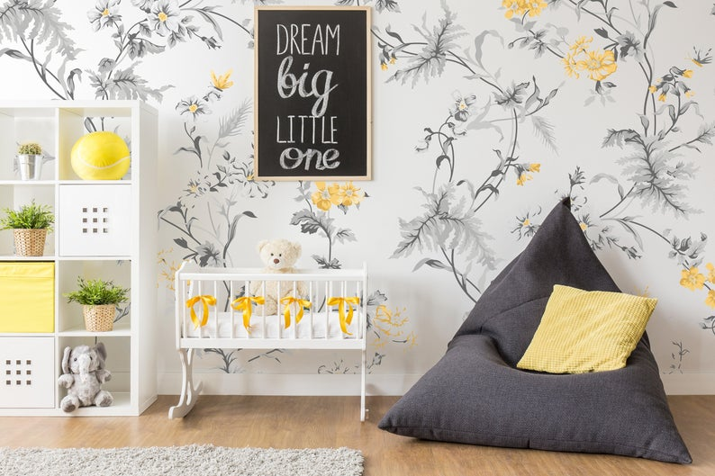 Little Yellow Flowers Wallpaper Self Adhesive Wallpaper Etsy Room Wallpaper Designs Removable Wallpaper Grey And White Wallpaper