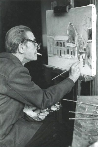 Maurice Utrillo au chevalet, ca 1950 -by Izis