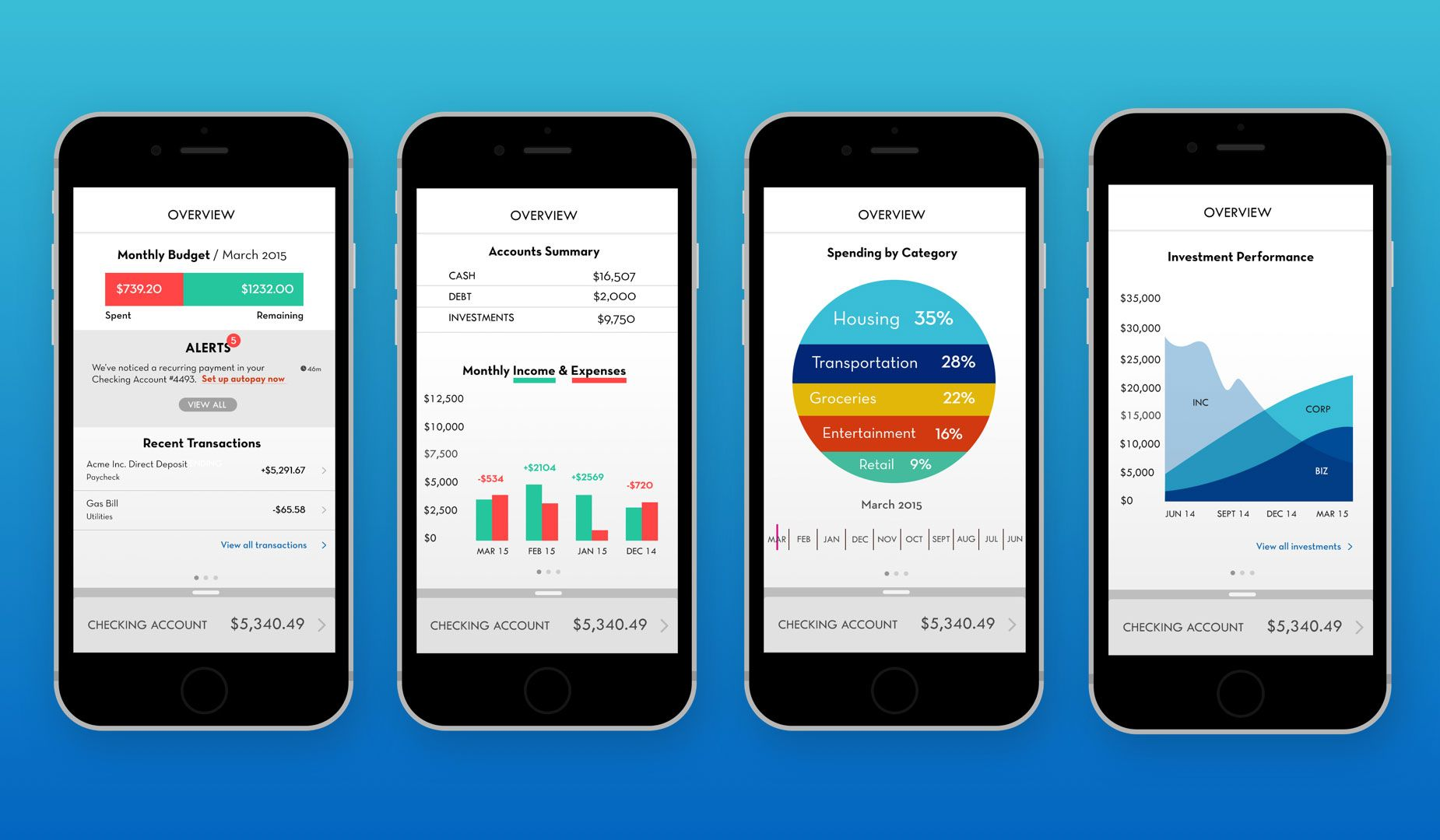 Insight Mobile Banking App Dashboard Flow Bank