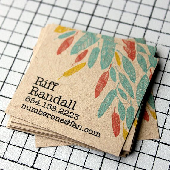 Feather calling cards on kraft calling cards business cards and being square is not always a bad thing here are 30 examples of chic mini square business card designs for inspiration reheart Images