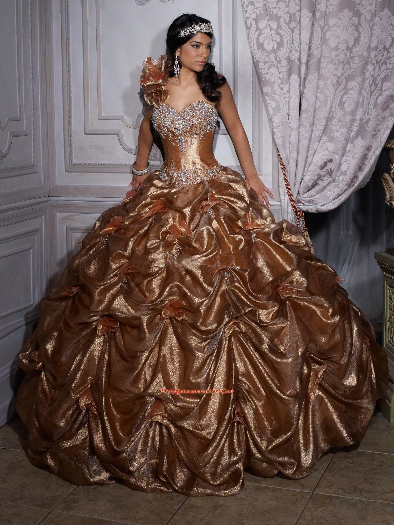 bronze dress | Quinceañera 4/13 | Pinterest