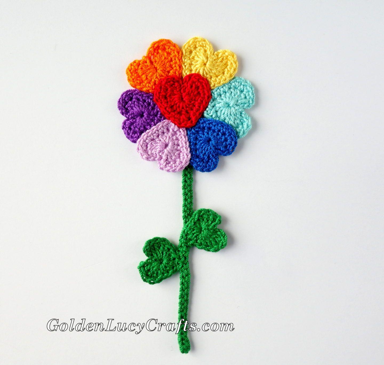 Crochet Flowers, Heart Shaped, Hearts, Free Crochet Pattern ...