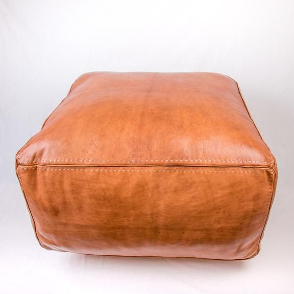 Tan Leather Square Ottoman Square ottoman Tan leather and Ottomans