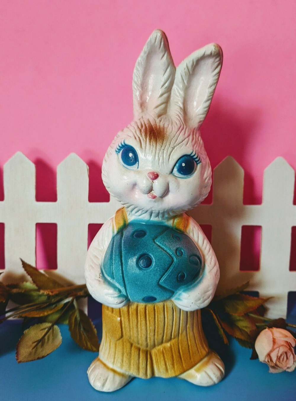 Vintage Plastic Boy Bunny Figurine With Easter Egg Cute Ebay In