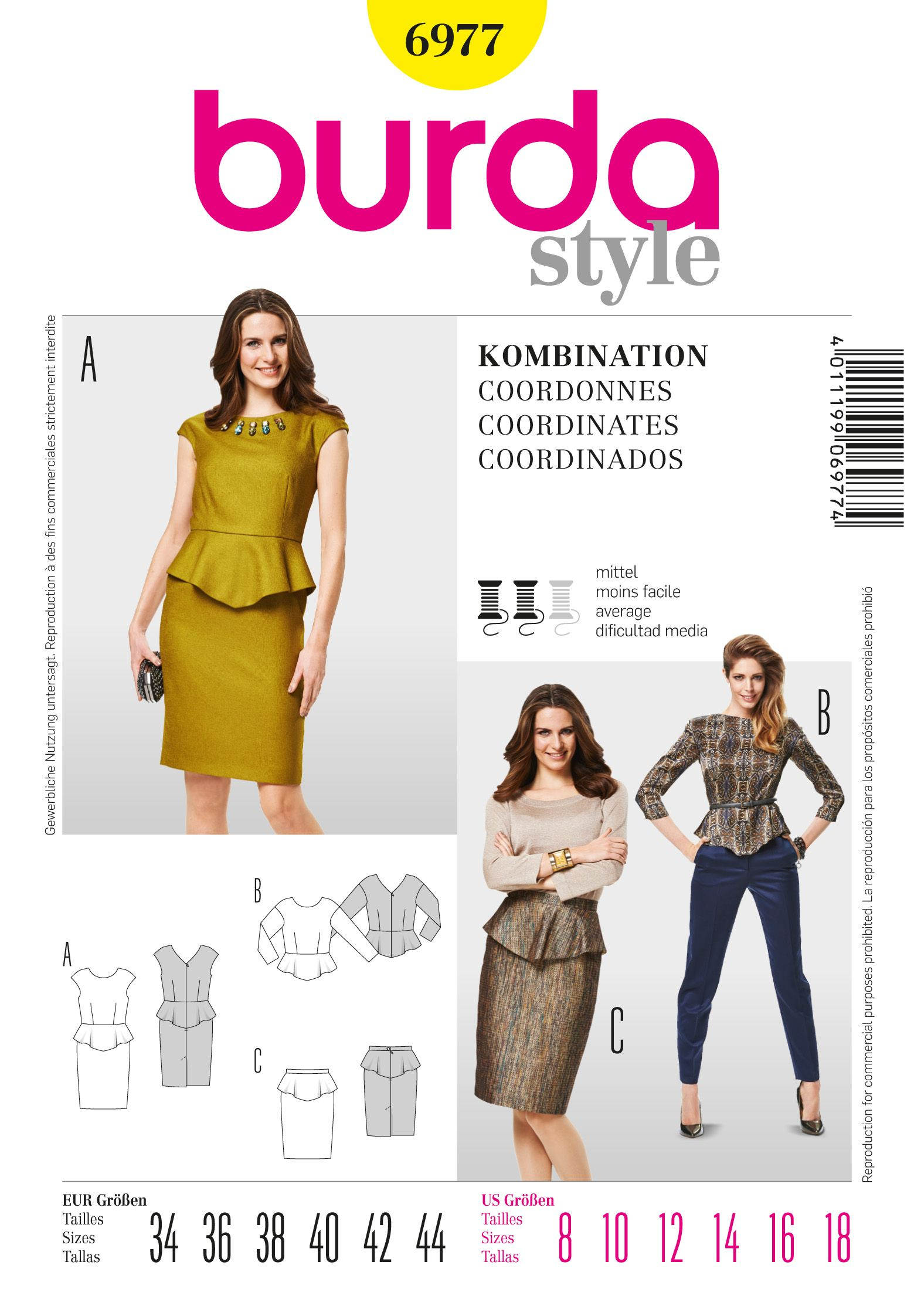 Purchase Burda 6977 Peplum Top and Skirt and read its pattern ...