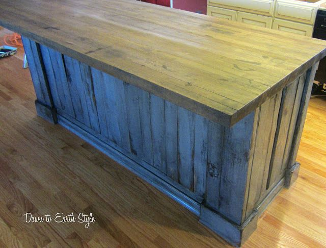 Like distressed base with wood top