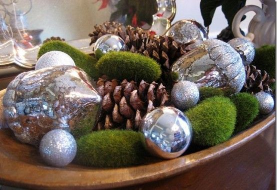 Bowl Decoration Ideas I Love The Silver Ornaments With The Green Moss And Pinecones