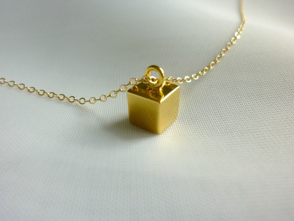 8fdf5693 gold cube initial necklace-gold initial necklace-initial charm necklace-gold  cube necklace-gold square charm necklace-gold bar necklace. $45.00, via  Etsy.