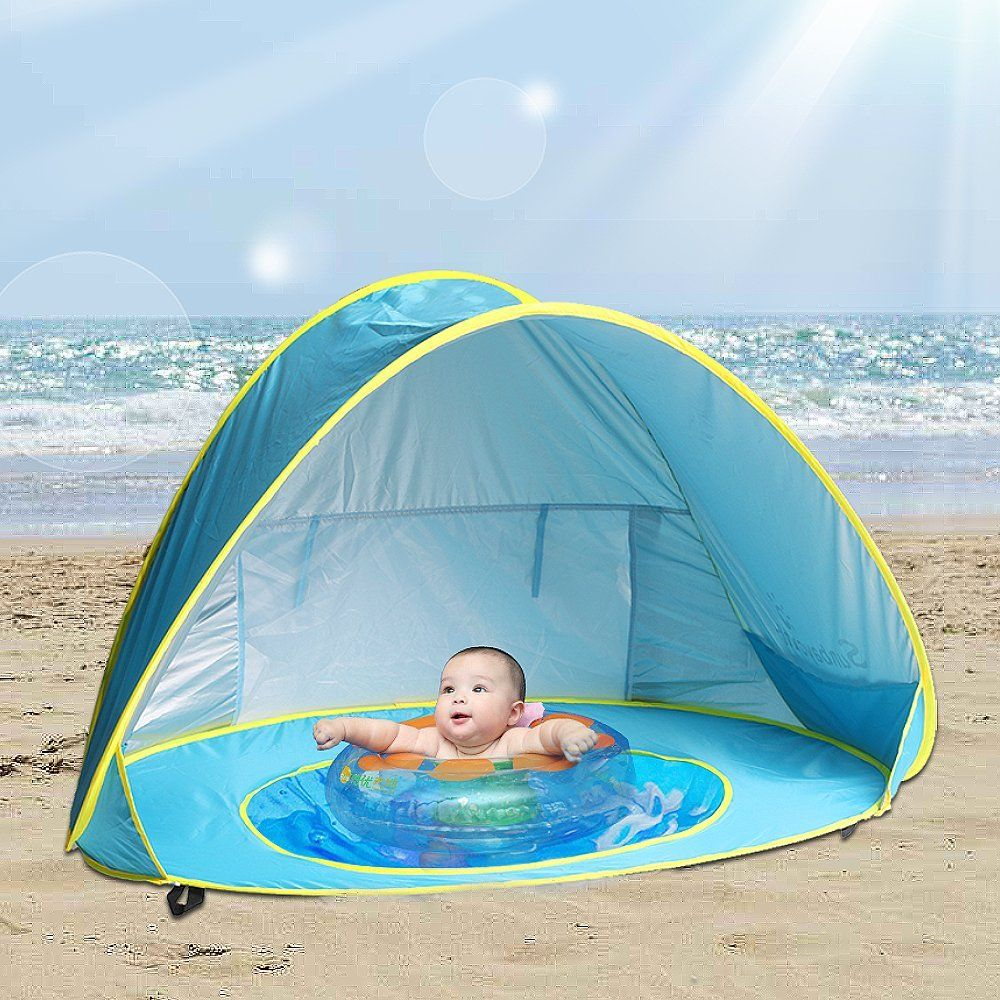Amazon Com Sunba Youth Baby Beach Tent Baby Pool Tent Uv Protection Sun Shelters Blue Toys Games Stuff Baby Beach Tent Beach Tent Tent
