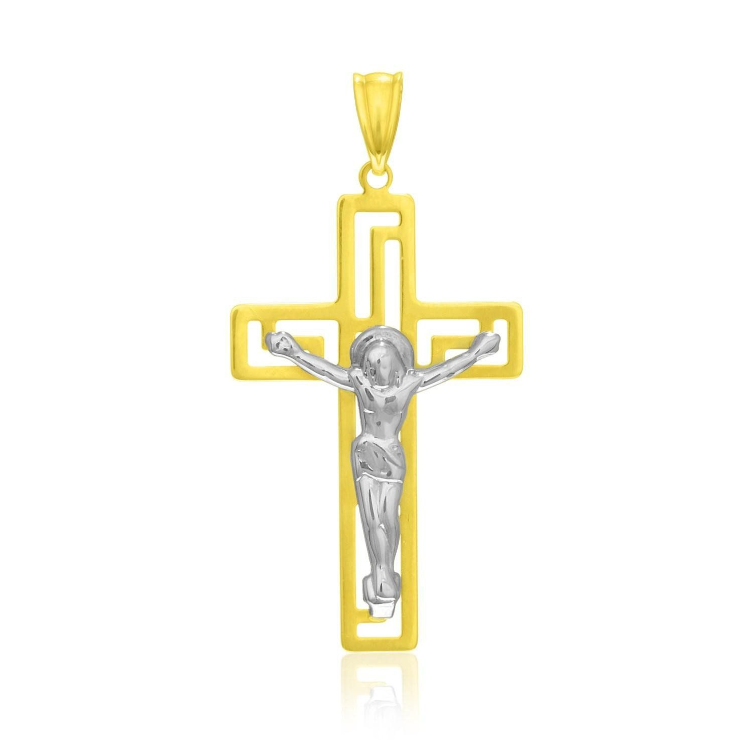 14K Two-Tone Gold Cross with Figure Pendant