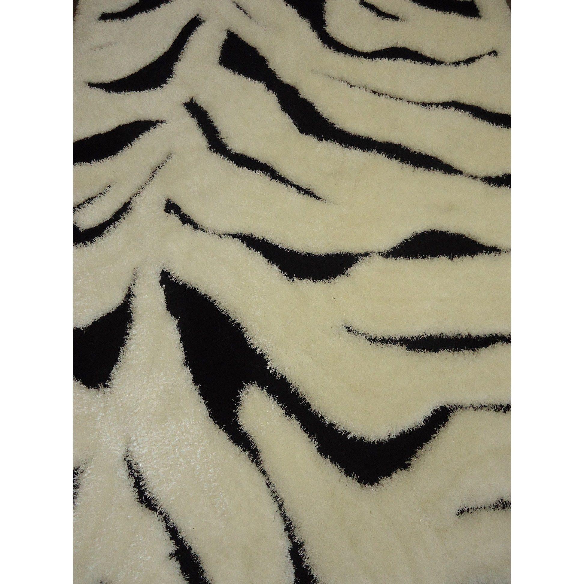 Zebra 5x7 Contemporary Area Rug 5 X 7 White Cotton Abstract Black Area Rugs Area Rugs Zebra Area Rug