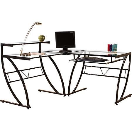 Florence L Shaped Gl Desk Black And Clear