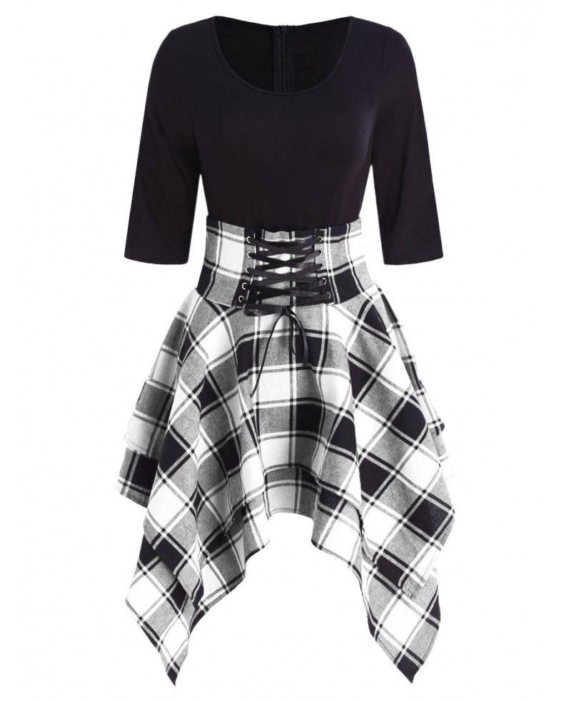 Lace Up Tartan Asymmetrical Dress - Black - 4M4829