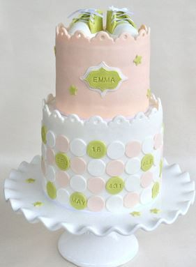 Pink & Green Embossed Dots and Stars Baby Shower Cake with Baby Shoes Topper (Emma)