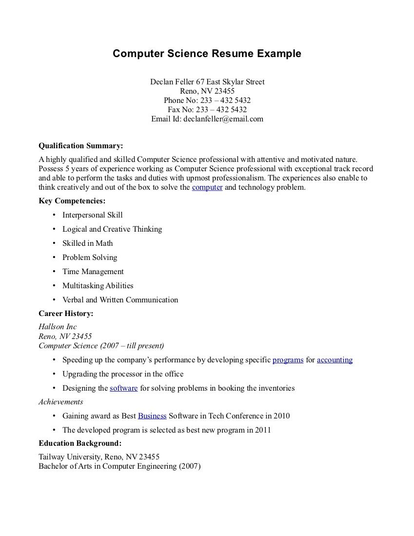 Computer Science Student Resume Computer Science Resume Example  Httptopresumecomputer