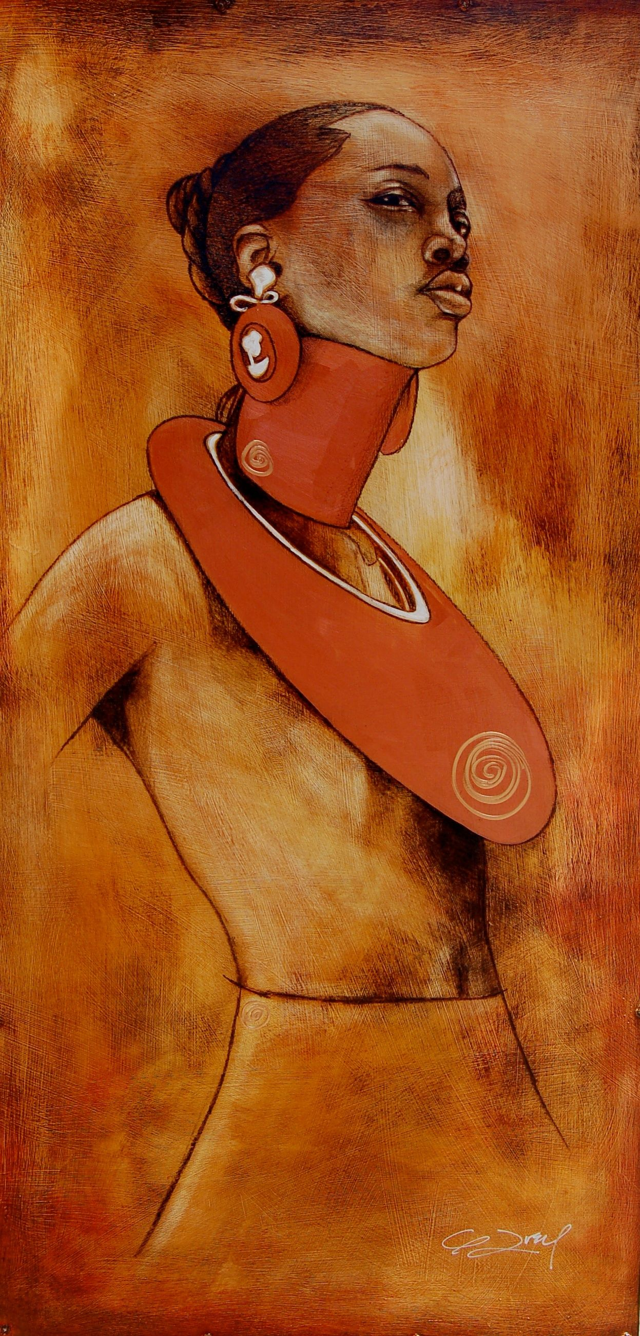 Artist: Gerald Ivey, acrylic on wood {contemporary art female indigenous african back woman painting} geraldivey.com