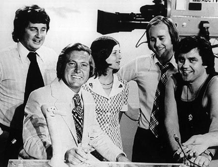 TV's current affairs program This Day Tonight began in 1967 and was still running in the seventies. Pictured in 1974 were (from left to right) Paul Murphy, Bill Peach, June Heffernan, Tony Joyce and Peter Luck