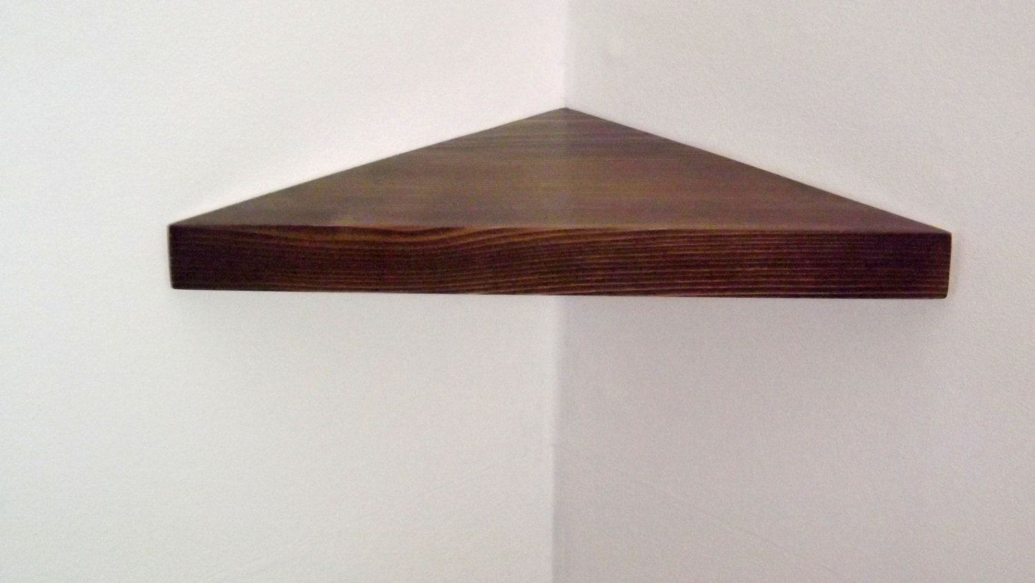 14 Inch Floating Corner Shelf With Kona Stain Handmade In