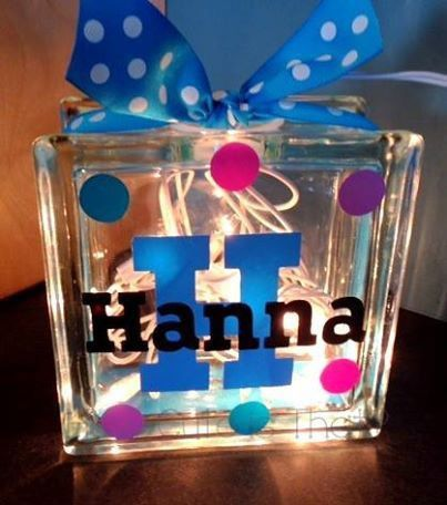 Glass Block Light - Name and Initial Personalized