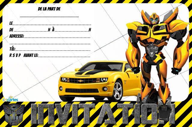 2 Invitations Anniversaire Transformers à Imprimer L Une Avec