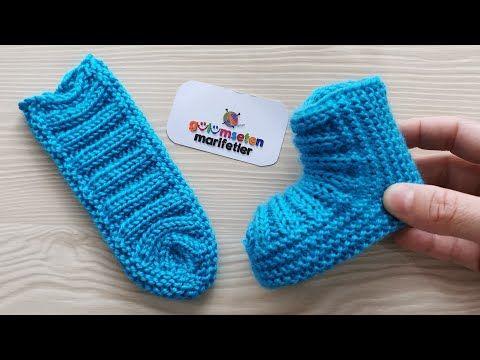 Photo of Very easy Knitting Newborn baby booties socks model made