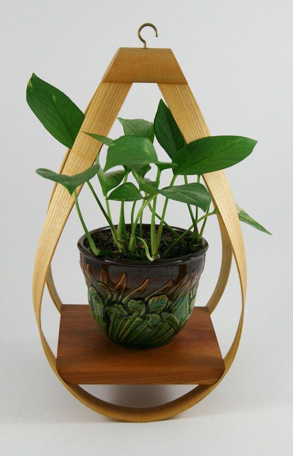 LOVE  Danish Modern Bent Wood Hanging Planter by YourWheelhouse on Etsy
