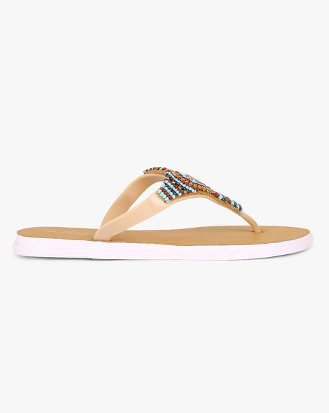 f0236d5671adf Buy Beige AJIO Beaded Thong Jelly Flats with 40% off  Rs479