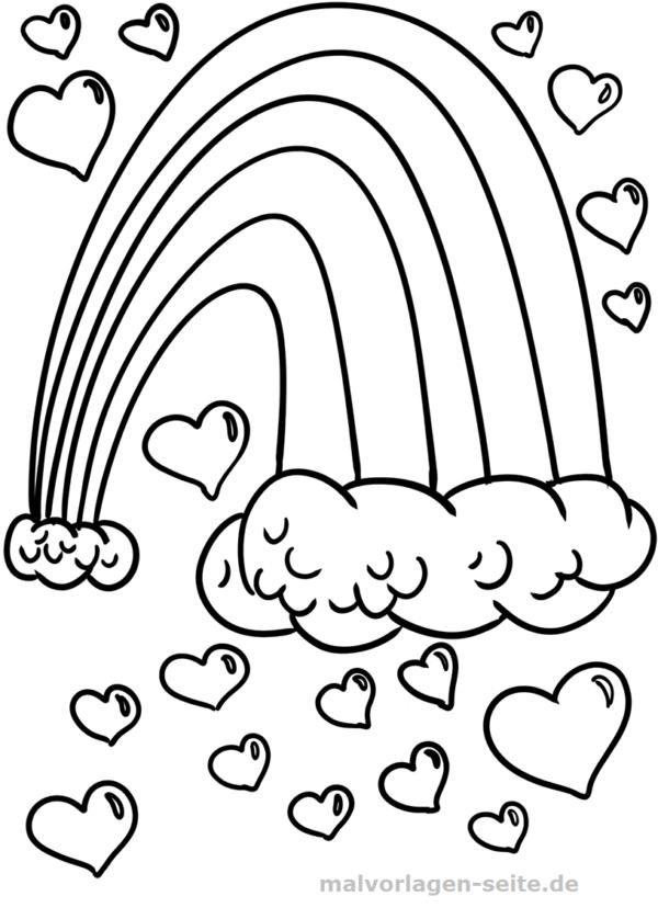 Regenbogenmalvorlagen Malvorlage Regenbogen Herzen Kolorowanki Coloring Pages To Print