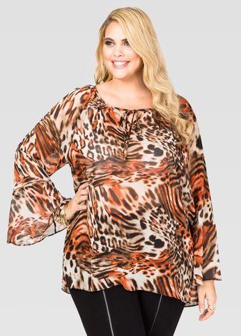 5dd0d575cf0 Image of Animal Print Lace-Up Blouse Plus Size Blouses
