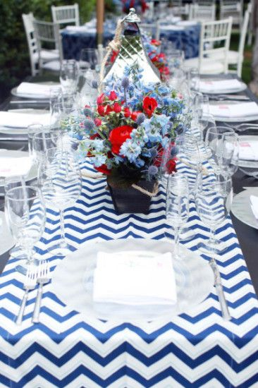 Ahoy Its A Boy Nautical Baby Shower Table Setting Chevron Air