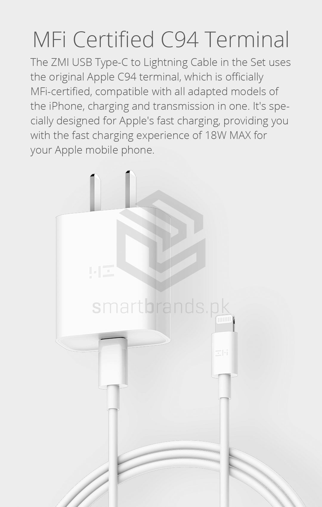 Zmi Apple Pd Fast Charge Kit Power Delivery Charger Usb C Lightning Cable Smart Brands Pakistan Lightning Cable Mfi Usb