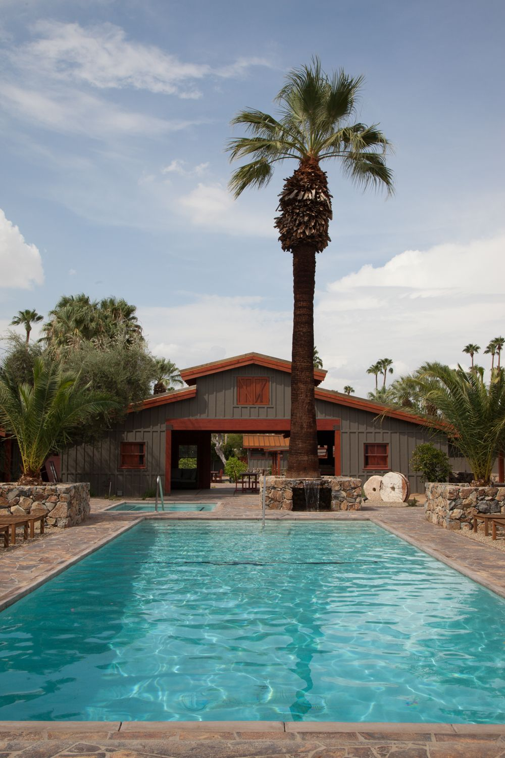 Enjoy a relaxing stay at The Sparrows hotel in Palm Springs, #California. Lounge by the saltwater pool, and hangout in the restored 1950s barn that is equipped with a bar serving California wines!