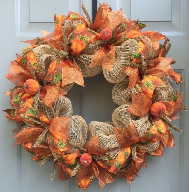 Fall Wreath Ideas Part - 26: Fall Pumpkin Deco Mesh Wreath, Fall Wreath, Harvest Wreath, Autumn Wreath,  Thanksgiving Wreath Burlap Mesh Base With Pumpkin And Orange Ribbon And  Pumpkin ...