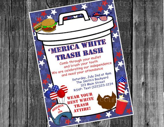 Patriotic white trash bash july fourth party customized printable white trash bash invitation by countryroadsdesign stopboris