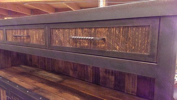 Rustic Reclaimed Wood Industrial Media Cabinet 043 von IndustEvo
