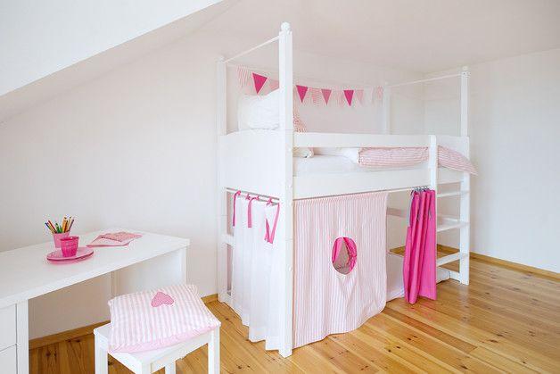 4 Hochbettvorhänge pink, rosa, weiß Loft betten, Bett