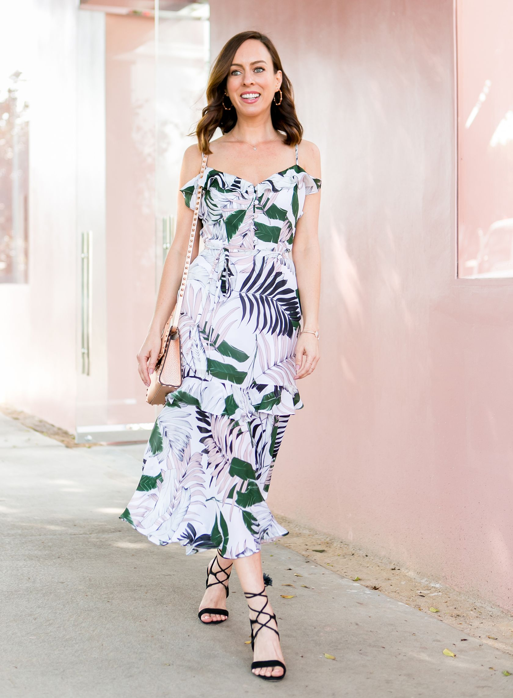 a08197561cca Palm Print Dresses | 2018 Vacation Fashion Trends. Sydne Style wears milly  tropics print petal dress