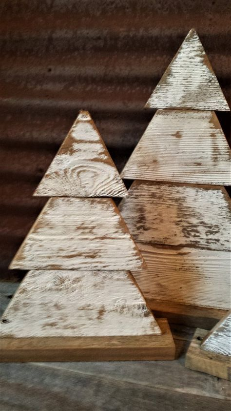Rustic Wood Christmas Tree Single or Set of 2 Farmhouse Trees, Rustic Tree Set, Rustic Porch Decor, Holiday Porch Decor, Wood Trees #smallchristmastreeideas