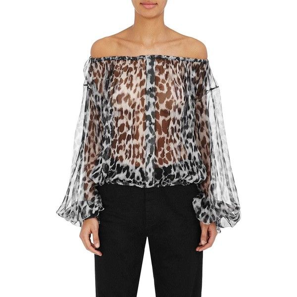 Comfortable Online Womens Leopard-Print Silk Off-The-Shoulder Blouse Saint Laurent Discount Largest Supplier Discount Low Cost jlpc5y0