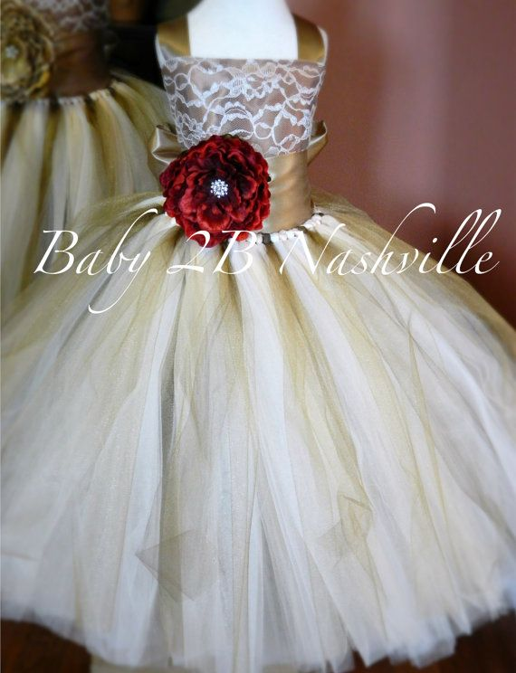 2af2c34dd9 Chocolate and Gold Lace Flower Girl Dress with Red Flower Rustic Wedding Flower  Girl Dress Tutu Dress All Sizes Girls