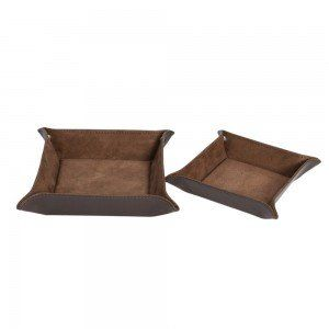 Set of 2 Leather-Look Trays