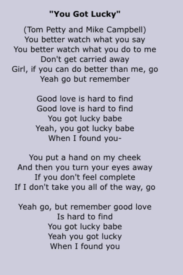 Lyric find songs by lyrics : Tom petty and the Heartbreakers | Song Lyrics Four | Pinterest ...