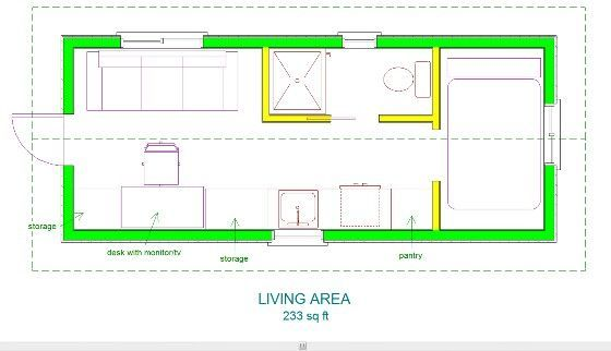 tiny house no loft. No Loft Tiny Houses | House Floor Plan With NO Loft.