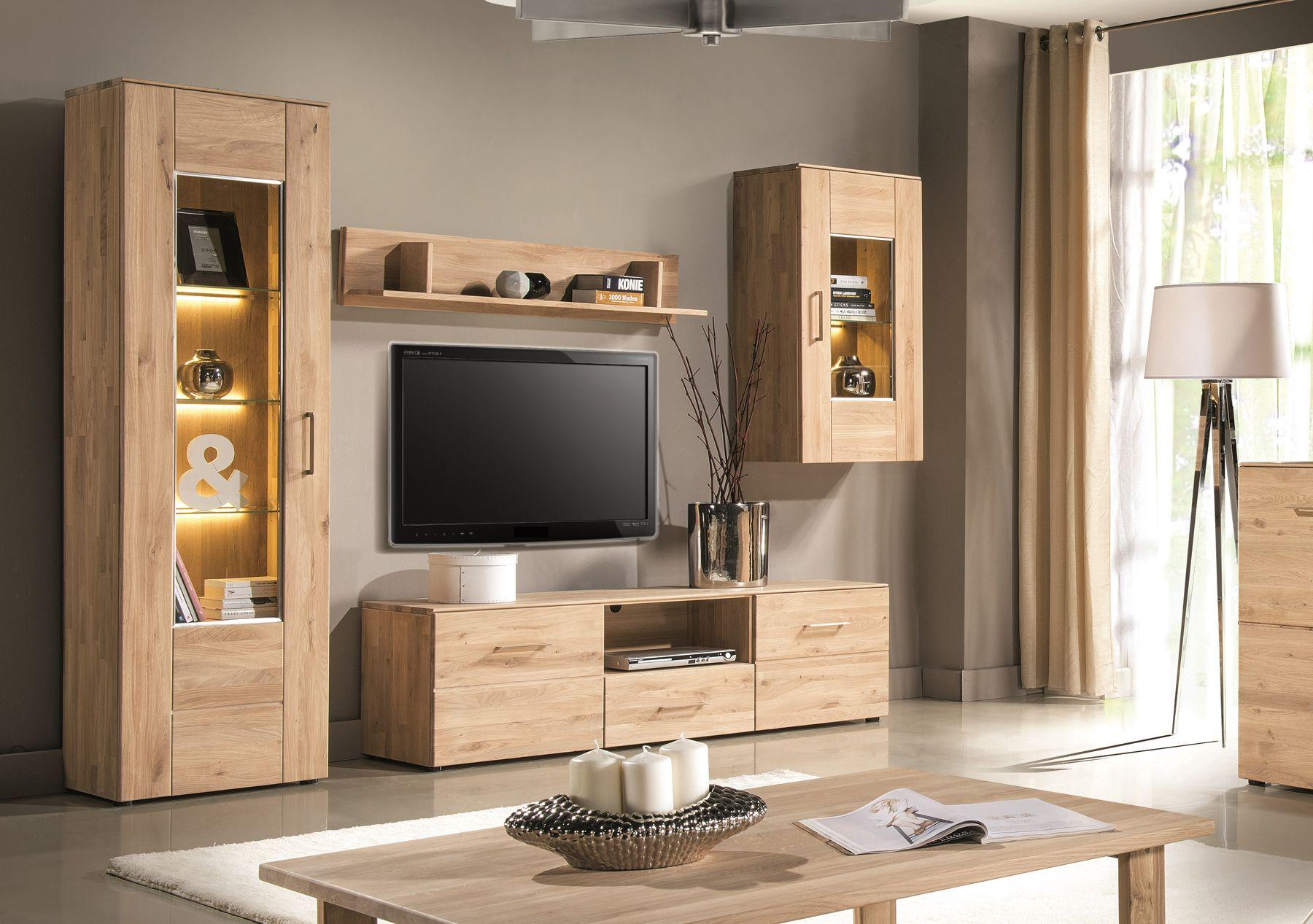 Genial wohnwand eiche geölt -  Einrichtungsideen wohnzimmer holz