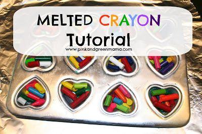 Pink and Green Mama: You Color My World Valentines: Melted Crayon Heart... #crayonheart